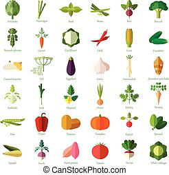 Set of vegetable flat icons - Vector image of the vegetable...