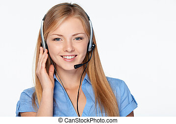 Woman support phone operator in headset - Closeup portrait...