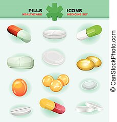 Pills, Capsules And Medicine Tablet Icons - Illustration of...