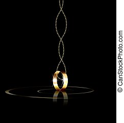 ring and chain - dark background and the single golden ring...
