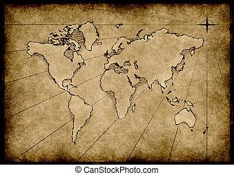 old grungy world map