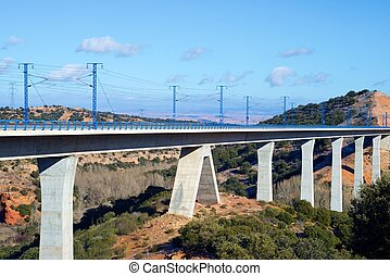 Viaduct - view of a high-speed viaduct in Sagides, Soria,...