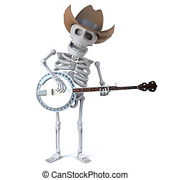 3d Cowboy skeleton plays a banjo ukulele - 3d render of a...