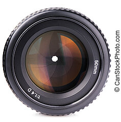 Camera lens - Photo camera lenses front view over white...