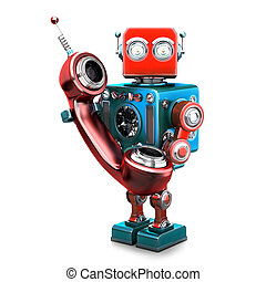 Retro robot with phone tube. Isolated. Contains clipping...