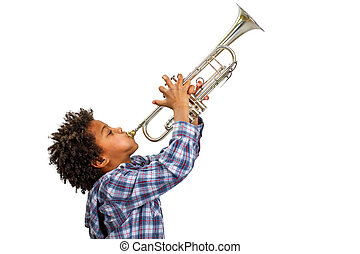 Trumpeter playing the blues. - Young artist proudly plays...