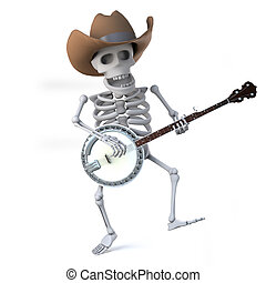 3d Cowboy skeleton dances while he plays the banjo ukulele -...