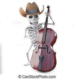 3d Cowboy skeleton plays the double bass - 3d render of a...