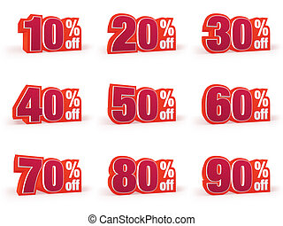 Set of Discount price signs in red wool look - Discount...