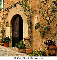 old mediterranean village - a view of an old mediterranean...