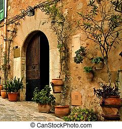 old mediterranean village - a view of an old mediterranean...