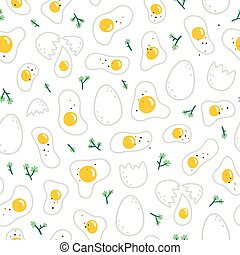 Eggs pattern on white background