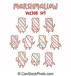 Marshmallow vector cartoon set - Marshmallow isolated vector...