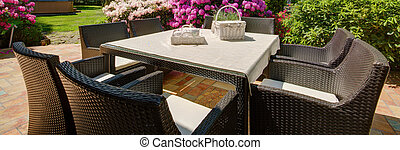 Outdoor furniture set - Panorama of outdoor furniture set...