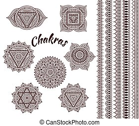 Set of seven chakras. Oriental ornaments and borders for...