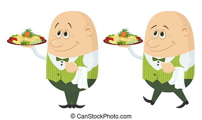 Waiter with Fried Potatoes, Seamless Loop - Fullhd 1920x1080...