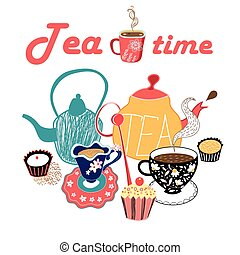 graphic illustration of a tea set - vector graphic...