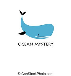 Symbol of the blue whale - Graphic blue whale isolated on...