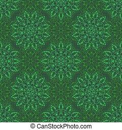 Vector Seamless Mandala Pattern over green