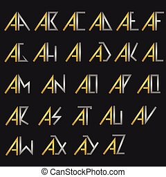 Monogram logo set - A and other alphabet letters monogram...