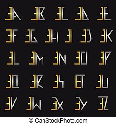 Letter E with alphabet - E and other alphabet letters...
