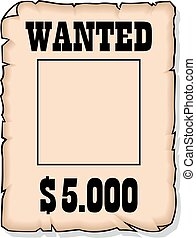 wanted 5000 dolars empty paper isolated on the white...
