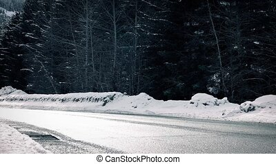 Car Passes On Winter Highway In Sun - Car passes on bright...