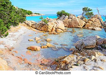 Caprccioli beach on a clear day, Sardinia