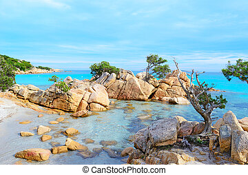 yellow rocks and blue sea - Caprccioli beach on a clear day,...