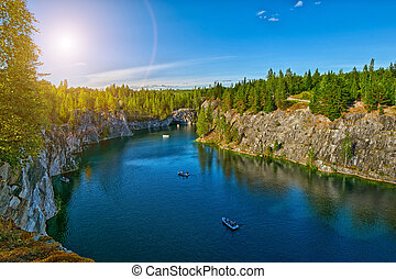 Ruskeala Marble Canyon at Sunset - Gorgeous Ruskeala Marble...