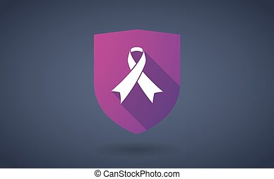 Long shadow shield icon with  an awareness ribbon