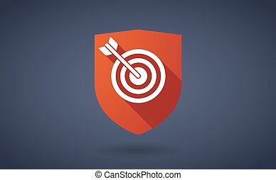 Long shadow shield icon with a dart board - Illustration of...