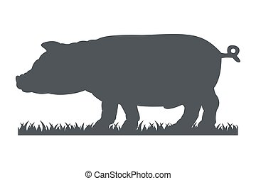 Silhouette of pig isolated on white background.