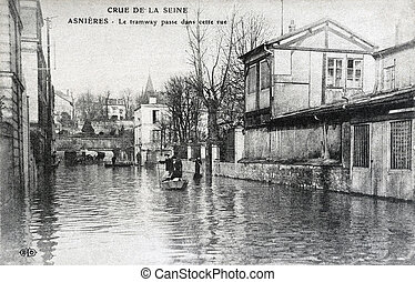 old postcard of the Paris floods in January 1910 - old...