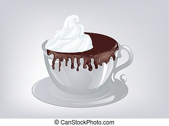 hot chocolate. Cup of hot chocolate grey background