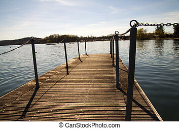 Pier - Lake seen from a pier, blue sky