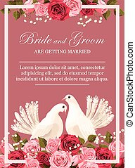 Wedding invitation with white doves