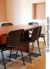 reunião, escritório, escrivaninha