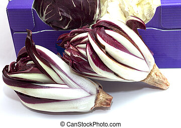 vegetables radicchio - radicchio narrow red leaf with...