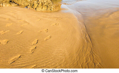Foot traces on the beach of Atlantica