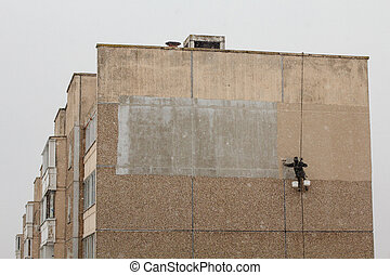 Industrial climber working - Minsk, Belarus - March 1, 2016:...