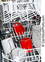 Dishwasher - few white and red cups in dishwasher