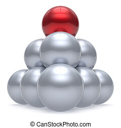 Leader sphere ball pyramid hierarchy corporation red top order