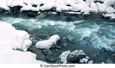 Icy Blue Mountain River In The Snow