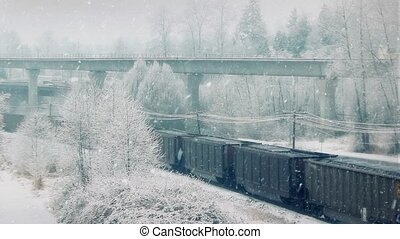Freight Train And Subway In Snow - Freight train and subway...