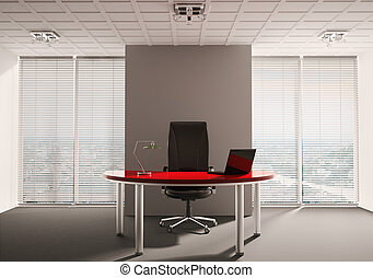 Modern office interior - Modern office with red table...