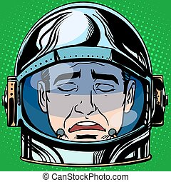 emoticon sadness Emoji face man astronaut retro pop art...