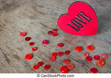 Big red heart and buttons
