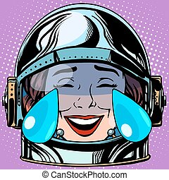 emoticon tears of joy Emoji face woman astronaut retro pop...