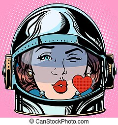 emoticon kiss love Emoji face woman astronaut retro pop art...